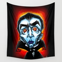 dracula Wall Tapestries featuring Dracula Caricature by Eileen Marie Art