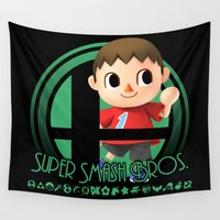 super smash bros Wall Tapestries featuring Villager - Super Smash Bros. by Donkey Inferno