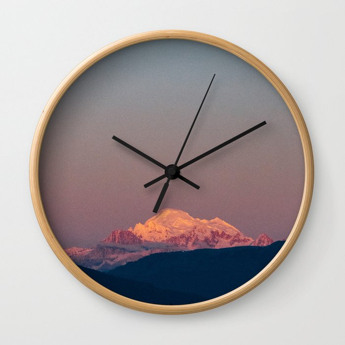 Sunset on Mount Baker Wall Clock