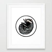 badger Framed Art Prints featuring Badger by Natalie Toms Illustration