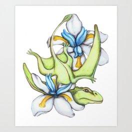D is for Dimorphodon and Dietes Grandflora Art Print