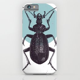 Black Beetle bug with blue moon iPhone Case
