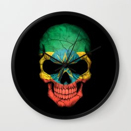 Dark Skull with Flag of Ethiopia Wall Clock