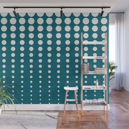 Off White Reduced Polka Dots Minimal Pattern on Tropical Dark Teal Inspired by Sherwin Williams 2020 Trending Color Oceanside SW6496 Wall Mural