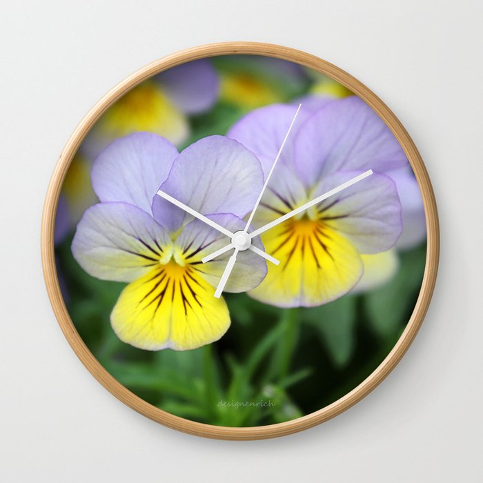 yellow purple pansy flower Wall Clock