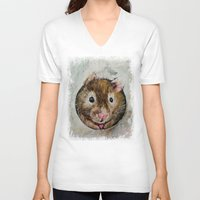 hamster V-neck T-shirts featuring Hamster Love by Michael Creese