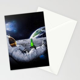 Funny Astronaut with space beer Stationery Cards
