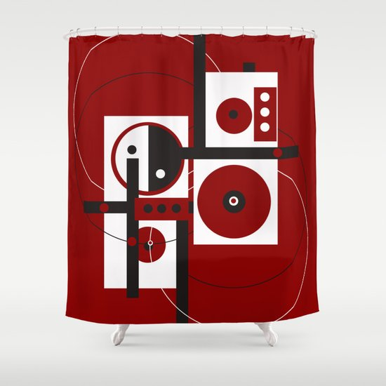 Geometric Red White Black 2 Shower Curtain By ViviGonzalezArt Society6