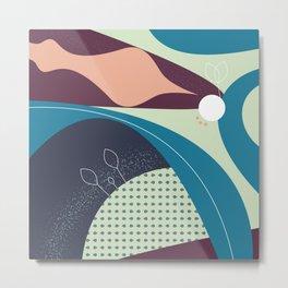 Floral Pattern Blue Shades Metal Print