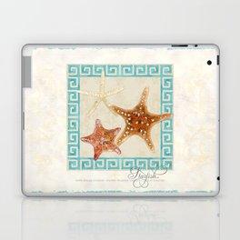 White Finger, Knobby, Orange Cushion Starfish Modern Ocean Shell Beach Striped Laptop & iPad Skin