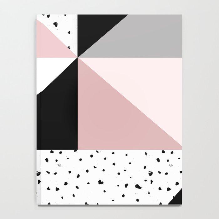 Geometrical pink black gray watercolor polka dots color block Notebook