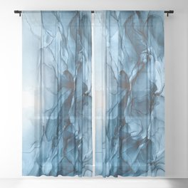 Deep Blue Flowing Water Abstract Painting Sheer Curtain
