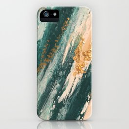 Teal and Gold Glam Abstract Painting iPhone Case