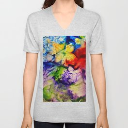 Abstract Encaustic Colorful Flowers, Unisex V-Neck