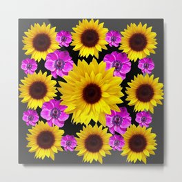 PURPLE FLOWERS & SUNFLOWERS DECO ART Metal Print