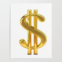 Gold Dollar Sign on White Poster