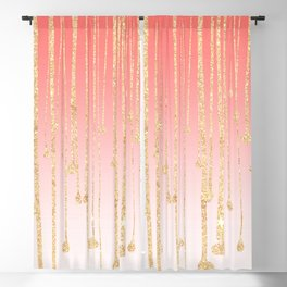 Color block coral faux gold glitter waterdrops ombre Blackout Curtain