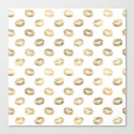 White & Gold Lip Pattern Canvas Print
