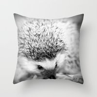 hedgehog Throw Pillows featuring hedgehog by Bunny Noir