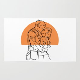 Retro styled pair kissing in front of orange sun Rug