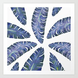 Tropical Banana Leaves Blue #society6 #buyart Art Print