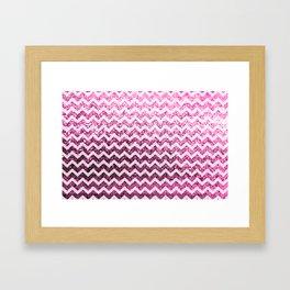 Glitter Sparkly Bling Chevron Pattern (pink) Framed Art Print