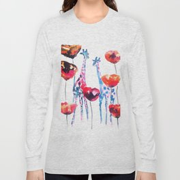 Giraffes and Poppies Long Sleeve T-shirt