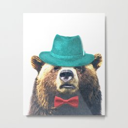 Funny Bear Illustration Metal Print