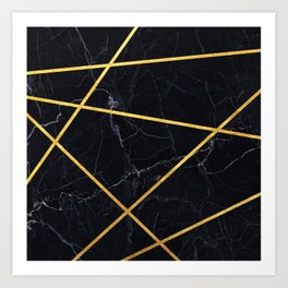 Black marble with gold lines Art Print