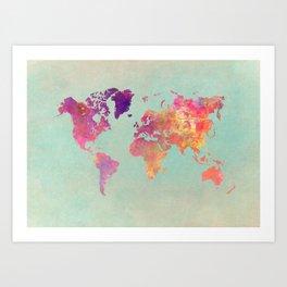 world map 102 #worldmap #map Art Print