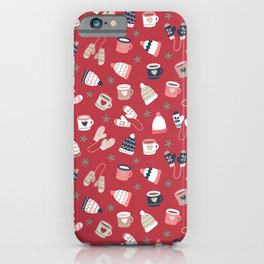 Warm Drinks And Winter Knit Wear Red iPhone Case
