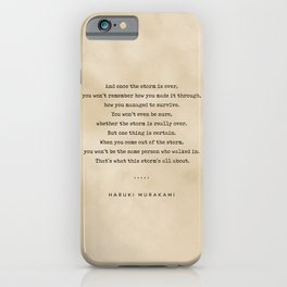 Haruki Murakami Quote 01 - Typewriter Quote on Old Paper - Minimalist Literary Print iPhone Case