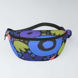 Bold Abstract Floral Inspired Pattern (Light/Dark Blue, Purple, Coral, Pea Green) Fanny Pack