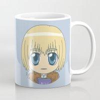 shingeki no kyojin Mugs featuring Shingeki no Kyojin - Chibi Armin Flats by Tenki Incorporated