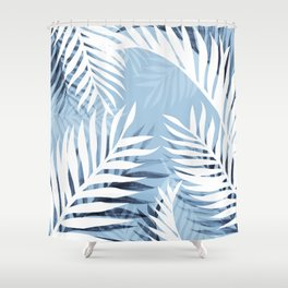 Tropical bliss - chambray blue Shower Curtain