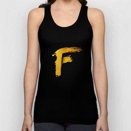 GOLD letter F Unisex Tank Top