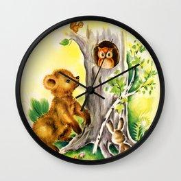 Woodland Animals & Owl's Tree Wall Clock