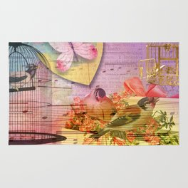 Beautiful Birds & Cages Colorful & Vintage Rug
