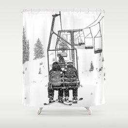 Snow Lift // Ski Chair Lift Colorado Mountains Black and White Snowboarding Vibes Photography Shower Curtain