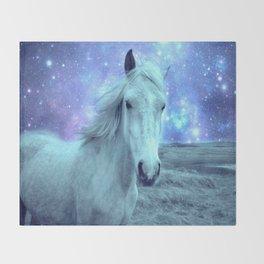 Blue Horse Celestial Dreams Throw Blanket