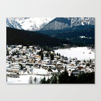 ski Canvas Prints featuring ski resort by luiza13