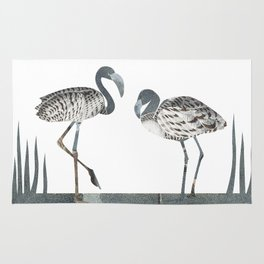 Flamingos in Silvery Blue Rug