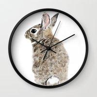 rabbit Wall Clocks featuring Rabbit by Anna Shell