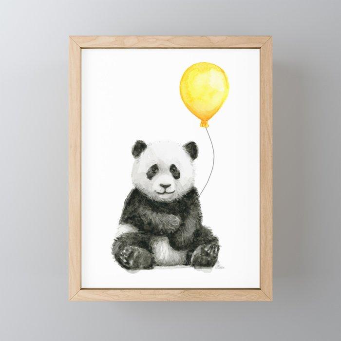 Panda Watercolor Animal with Yellow Balloon Nursery Baby Animals Framed Mini Art Print