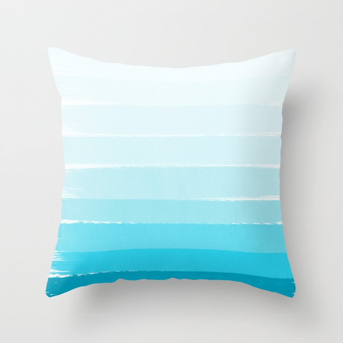 Isla - Ombre Brushstroke - Blue Turquoise, Bright, Summer, Tropical, Beach Ocean Throw Pillow