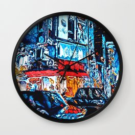 Neon Reflections Wall Clock