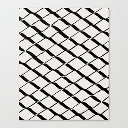 Modern Diamond Lattice Black on Light Gray Canvas Print