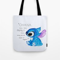 ohana Tote Bags featuring Ohana by nafrodrigues