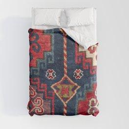 Royal Blue Red Kazak 19th Century Authentic Colorful El Paso Vibes Vintage Patterns Duvet Cover