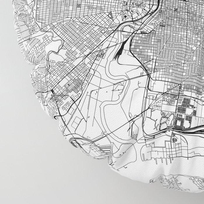 Philadelphia White Map Floor Pillow